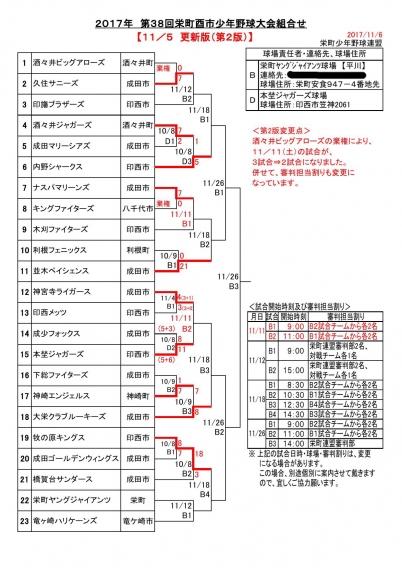 38回 栄町酉市少年野球大会【組合せ表】再々変更!