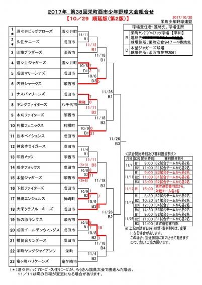 栄町酉市少年野球大会【組合せ表】再変更!